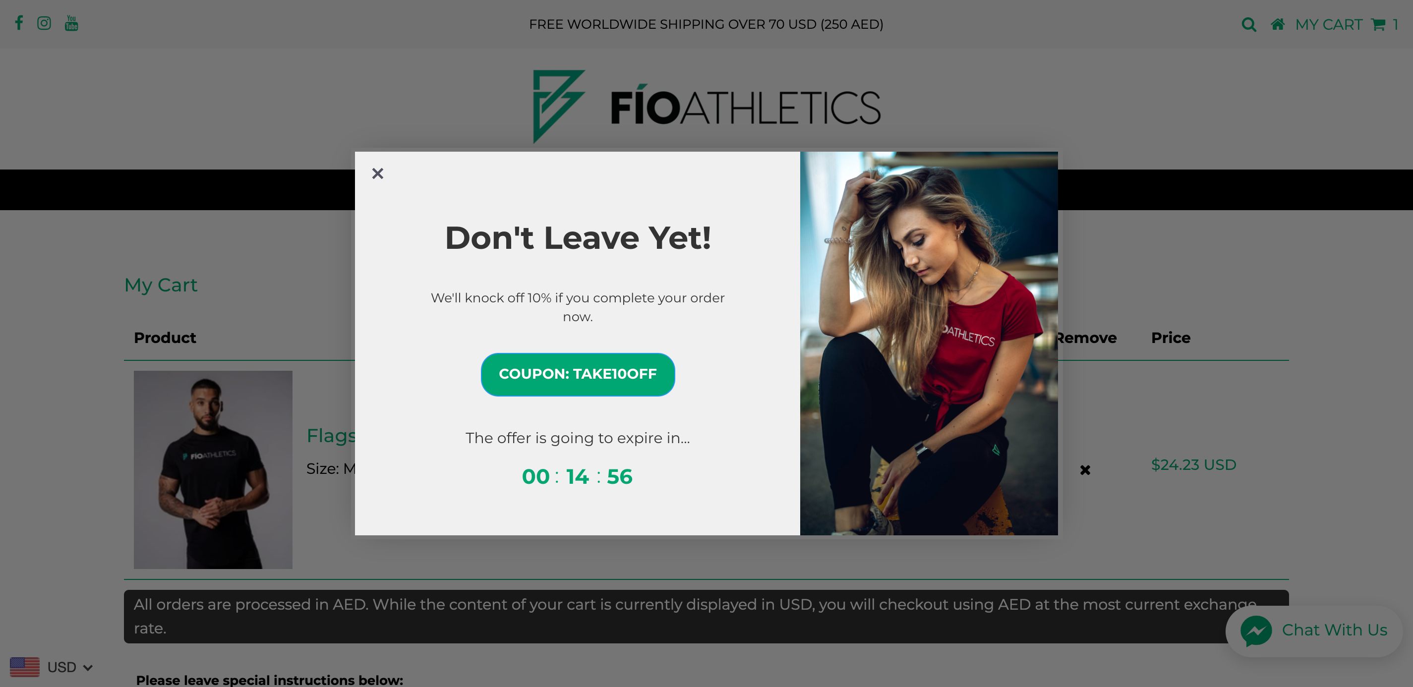 cart abandonment on the fio athletics online store